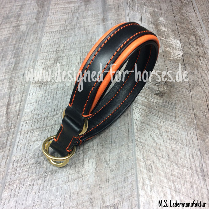 Zugstopp Halsband aus Leder - zweifarbig unterlegt