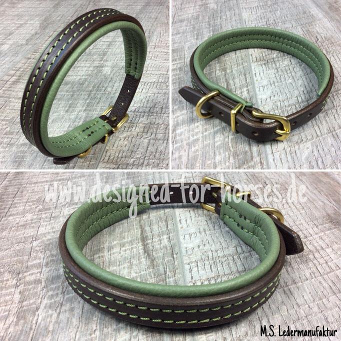Hundehalsband aus Leder nach Maß - Dunkelbraun - Moosgrün