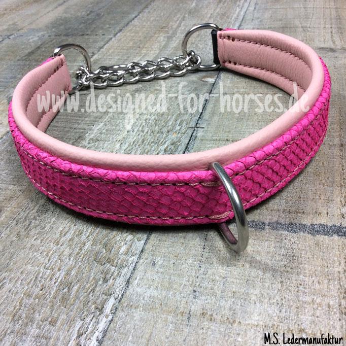 Zugstopp Halsband mit Fischleder Pink, Rosa