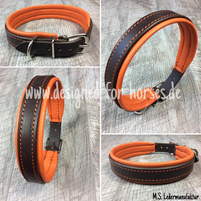 Hundehalsband mit Schnalle aus Leder nach Maß. Braun - Orange