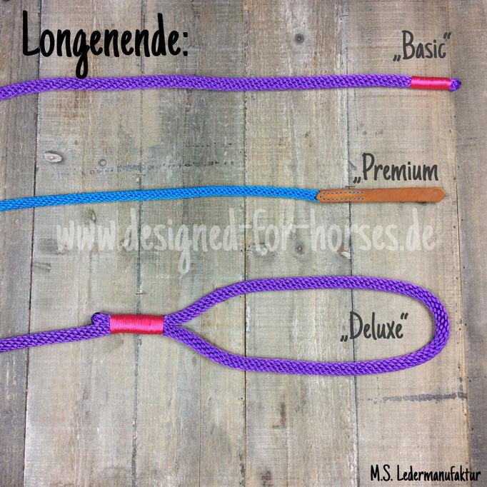 Seil Longe handgefertigt aus PPM. mit Lederklatsche, Takelung oder Handschlaufe