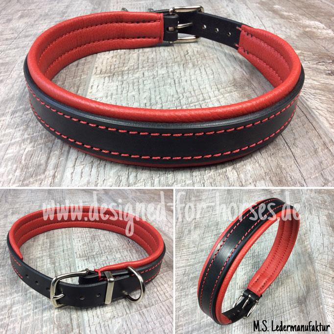 Hundehalsband mit Schnalle aus Leder nach Maß. Schwarz - Rot