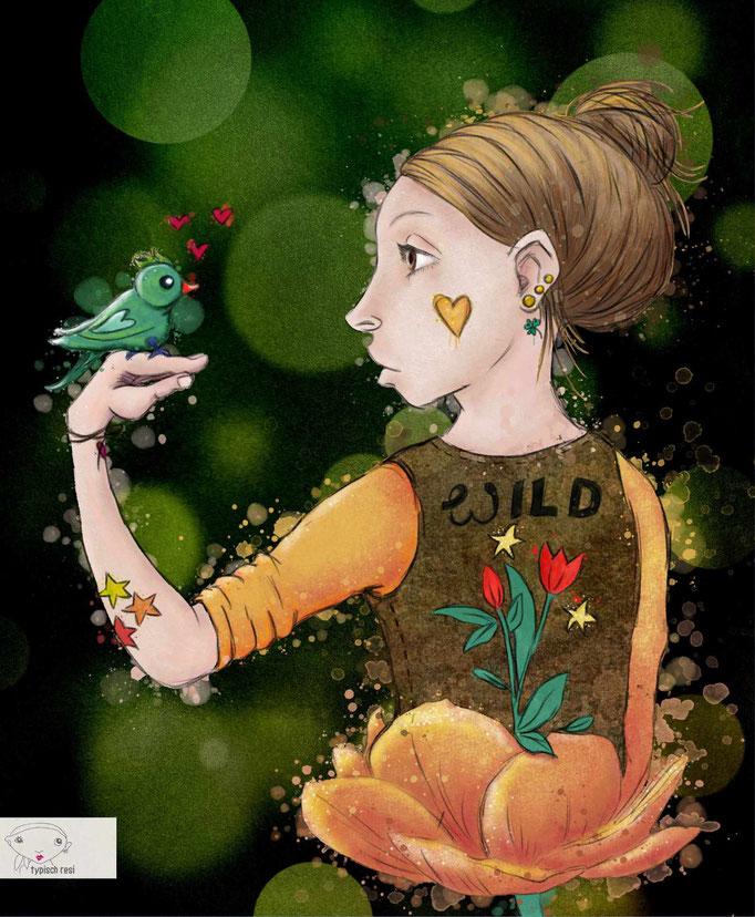 Frau mit Vogel | drawthisinyourstyle