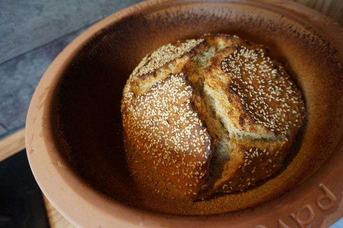 Rezept gesundes Kartoffelbrot mit leckerer Kruste und Samen