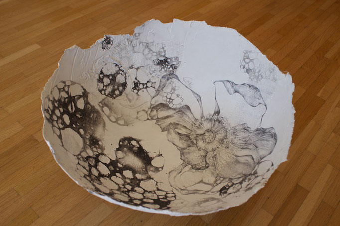Schale-Bleistiftzeichnung auf Leinwand,Kaffeesack,Tuschseifenblasen-2016