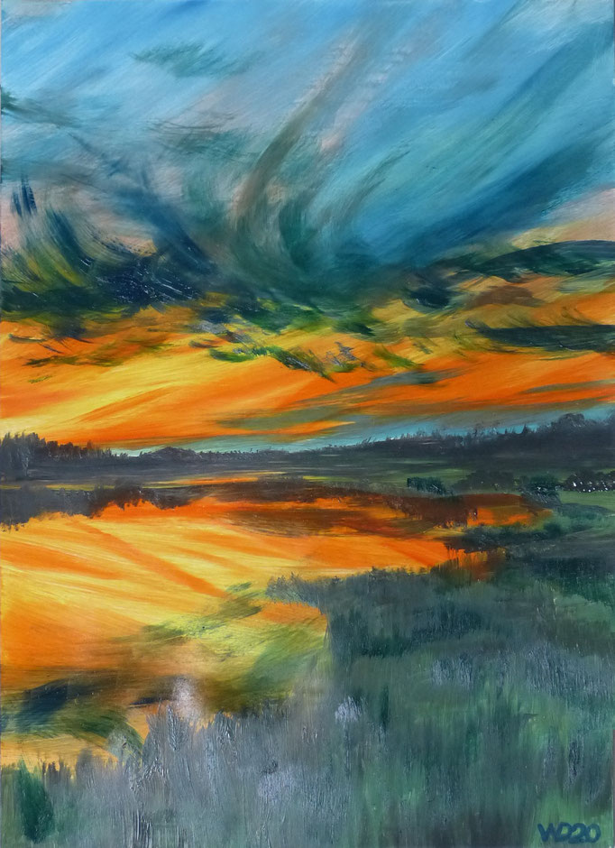Sunset 33 - 24 x 33 cm  Ölfarbe auf Papier   45.00 €
