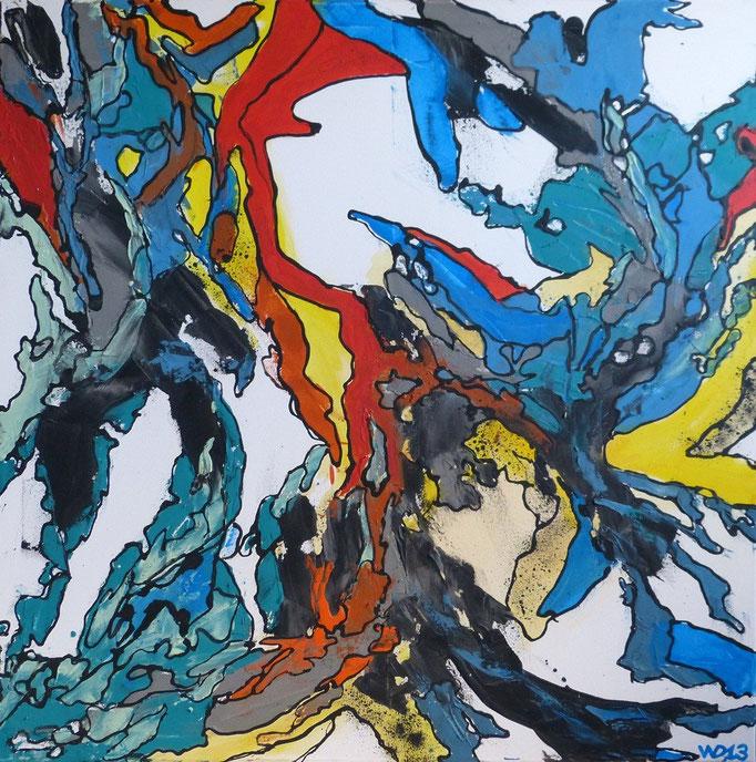 1210 - 90 x 90 cm Acrylfarbe, Schlussfirnis.     120.00 €