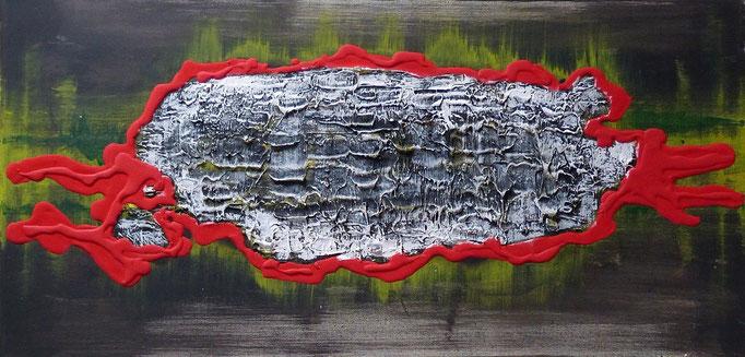 DER M... DANACH - 40 x 80 cm  Acrylfarbe, Strukturpaste, Schlussfirnis.  85 €