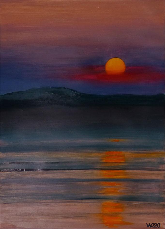 Sunset 31 - 24 x 33 cm  Ölfarbe auf Papier   45.00 €