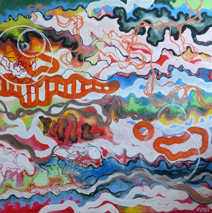 Bunt wie das Leben  - 90 x 90 cm Acrylfarbe, Schlussfirnis. 450.00 €