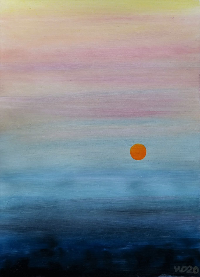 Sunset 63 - 24 x 33 cm  Ölfarbe auf Papier   45.00 €