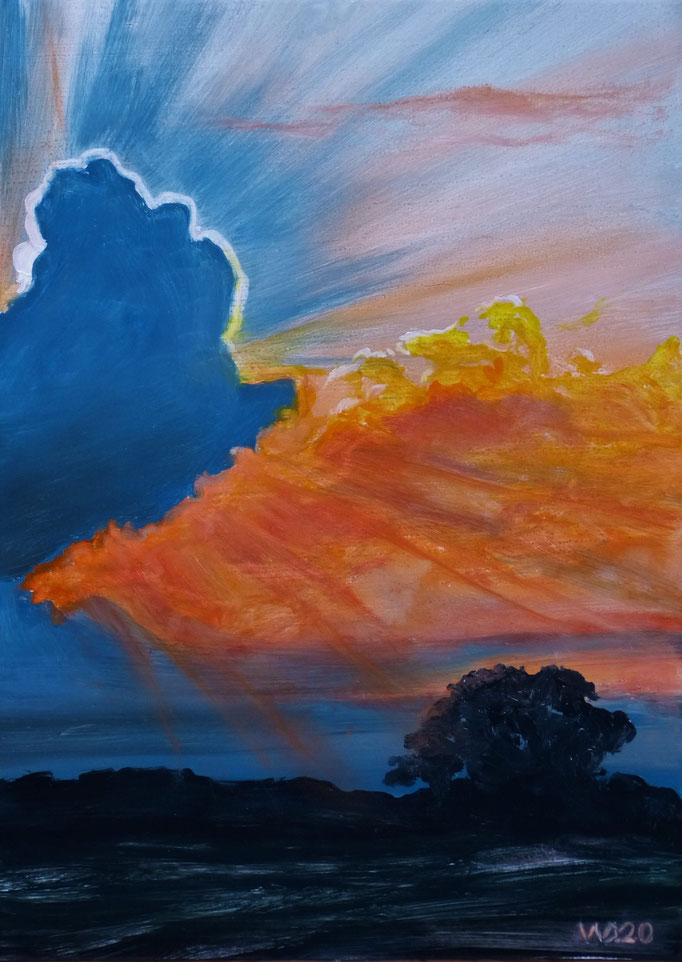 Sunset 74 - 24 x 33 cm  Ölfarbe auf Papier   45.00 €