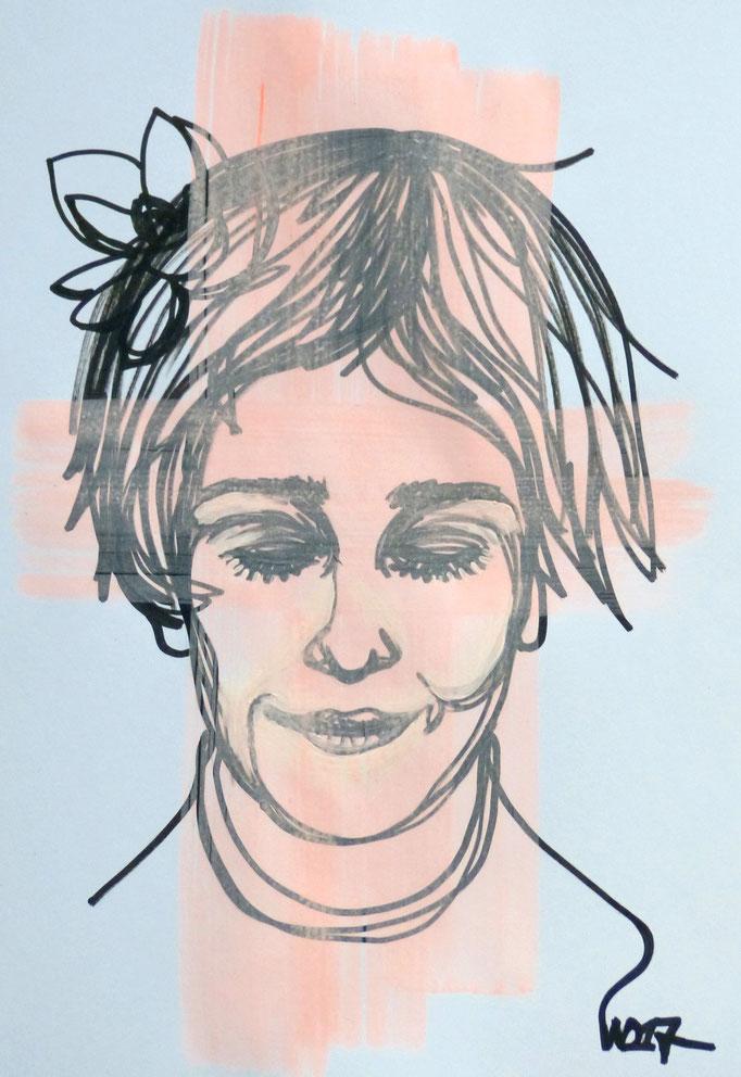 Schamhaft - 35 x 50 cm  Marker, Acrylfarbe auf`s Papier    99.00 €