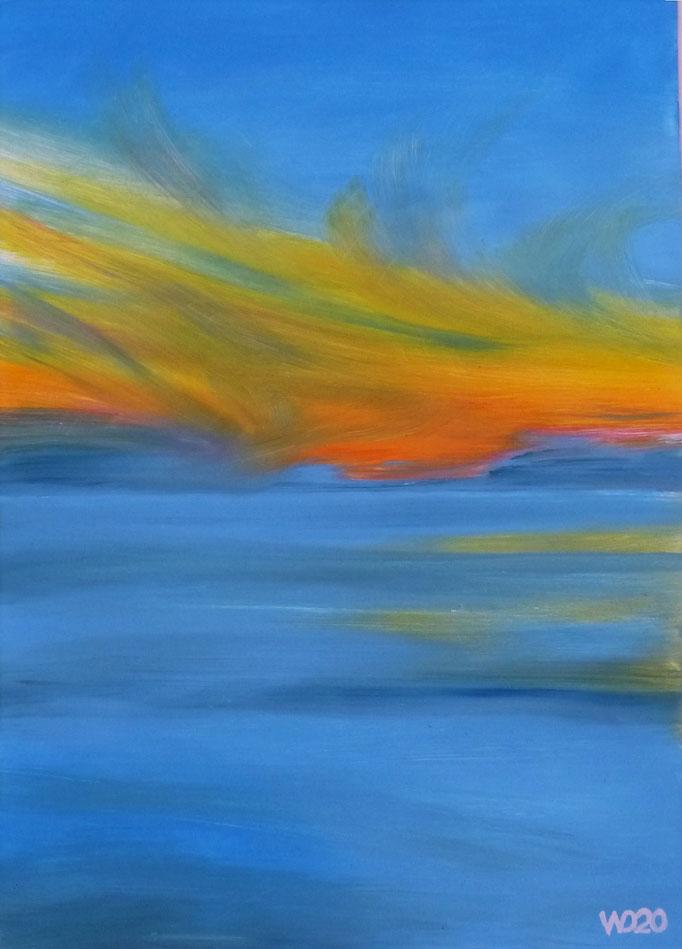 Sunset 27 - 24 x 33 cm  Ölfarbe auf Papier   45.00 €