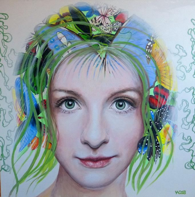 Schmetterlinde im Kopf - 80 x 80 cm Acryl  auf Leinwand   450.00 €