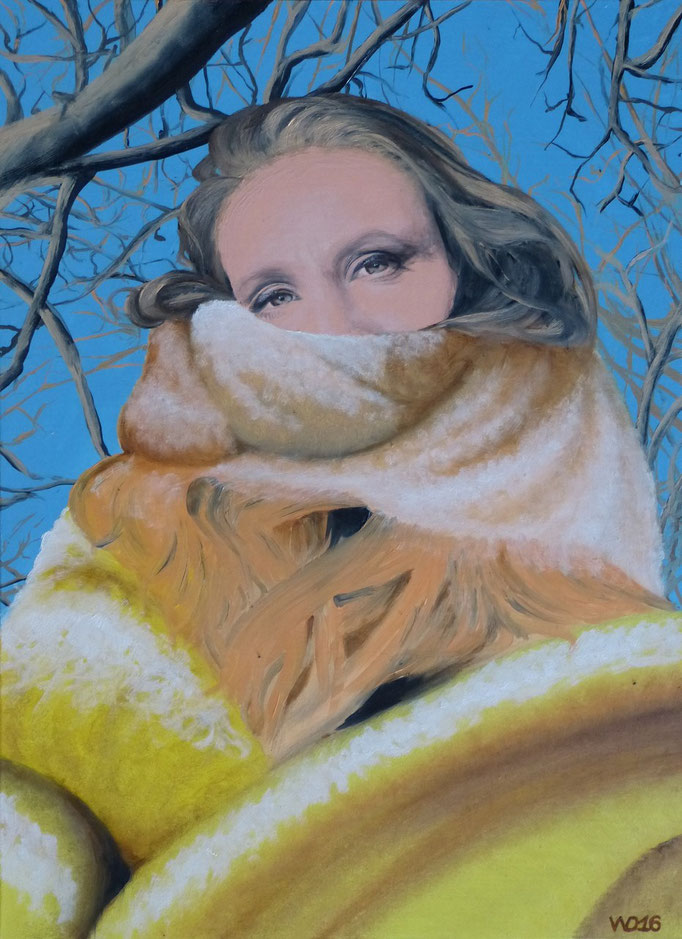 Madame mit Schal - 48 x 65cm  Öllfarbe,  3mm MDF-Platte   220.00 €