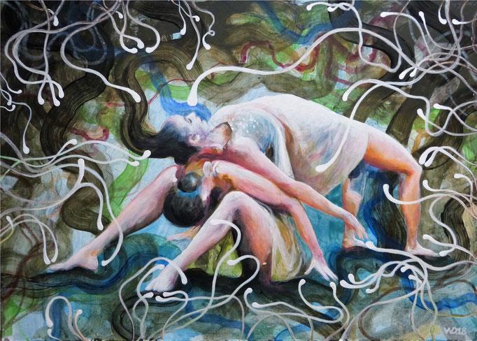 Tanzende Glühwürmchen - 50 x 70 cm Acrylfarbe, 4mm MDF-Platte   230.00 €
