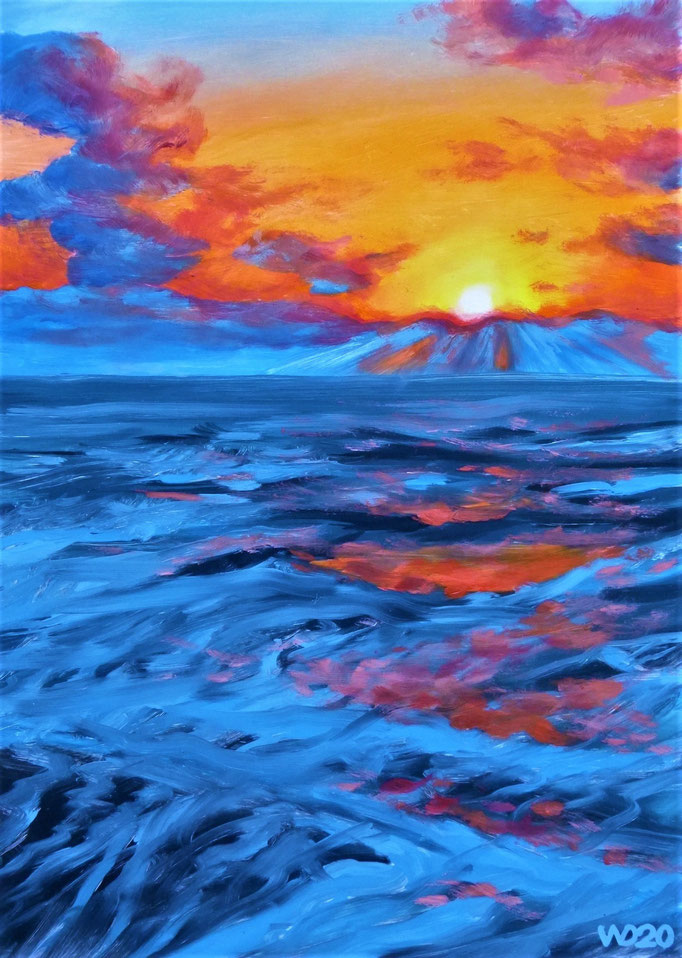 Sunset 34 - 24 x 33 cm  Ölfarbe auf Papier   45.00 €
