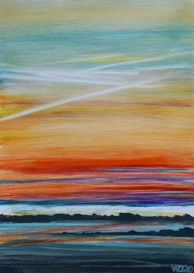 Sunset 77 - 24 x 33 cm  Ölfarbe auf Papier   45.00 €