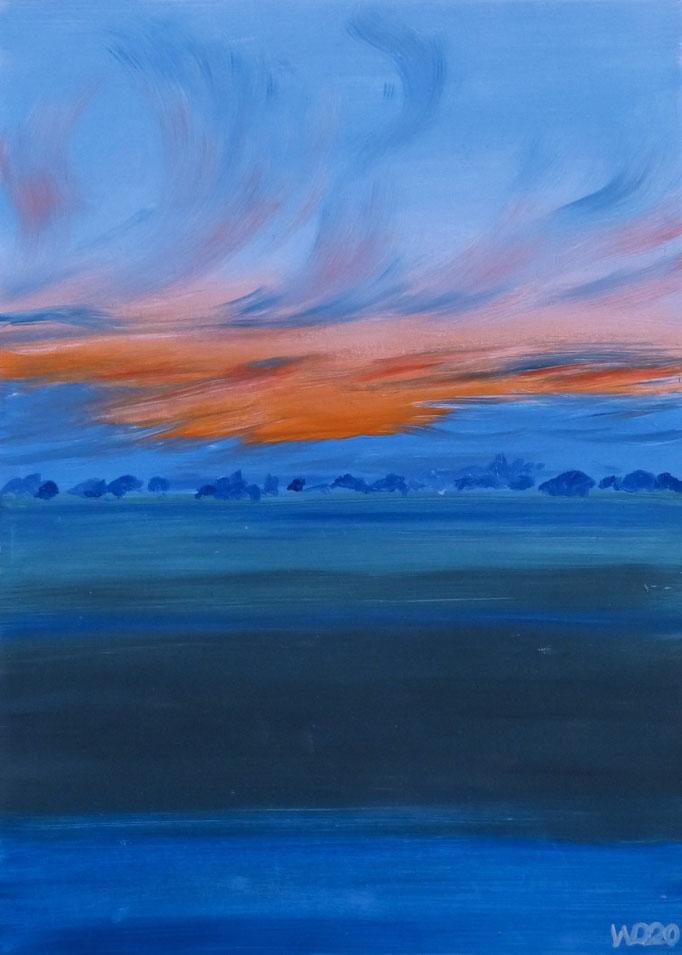 Sunset 26 - 24 x 33 cm  Ölfarbe auf Papier   45.00 €