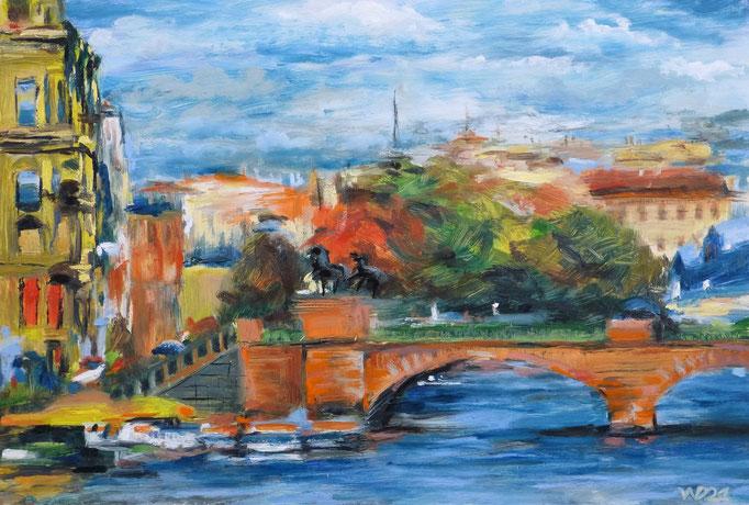 Anitschkow Brücke  - 36 x 53 cm  Ölfarbe, 3mm MDF-Platte  100.00€