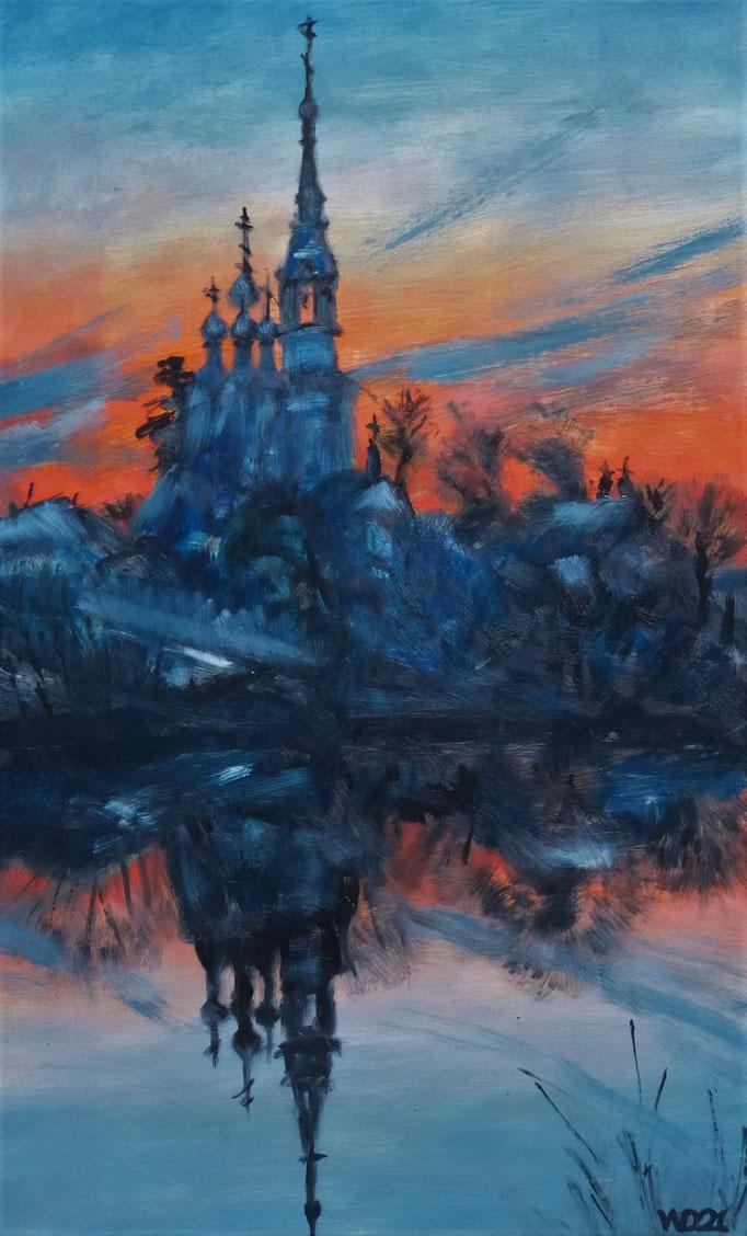 Kloster im Abendlicht  - 37 x 60 cm  Ölfarbe, 3mm MDF-Platte  120.00€
