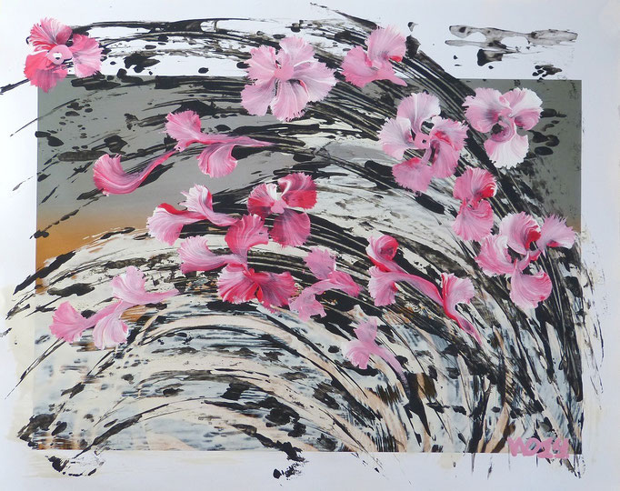Sakura - 40 x 50 cm   Acrylfarbe, Papier  100.00 €
