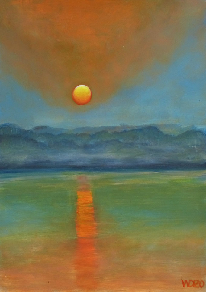 Sunset 7 - 24 x 33 cm  Ölfarbe auf Papier   45.00 €