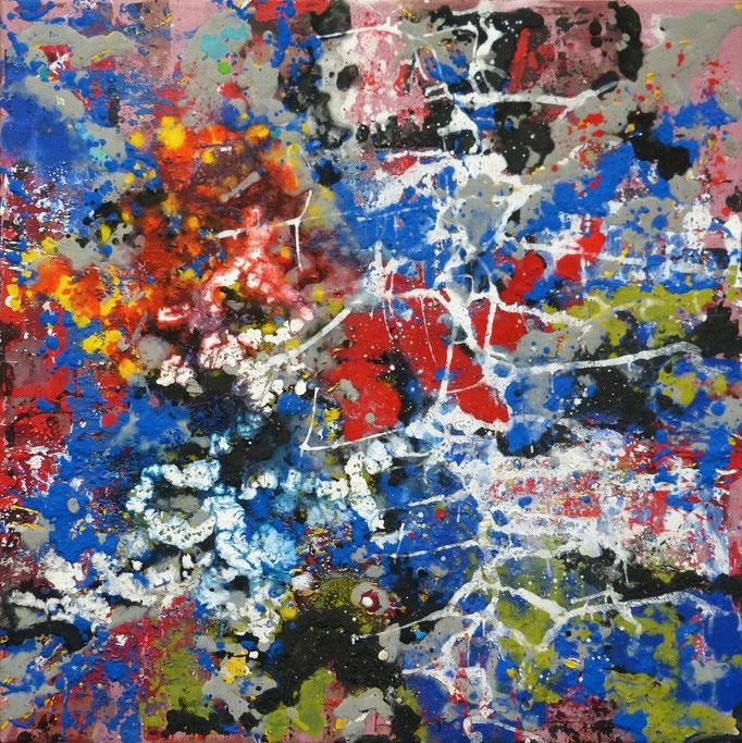 DIE BLAUGLUT  - 80 x 80cm  Acrylfarbe, Strukturpaste, Schlussfirnis.   175 €