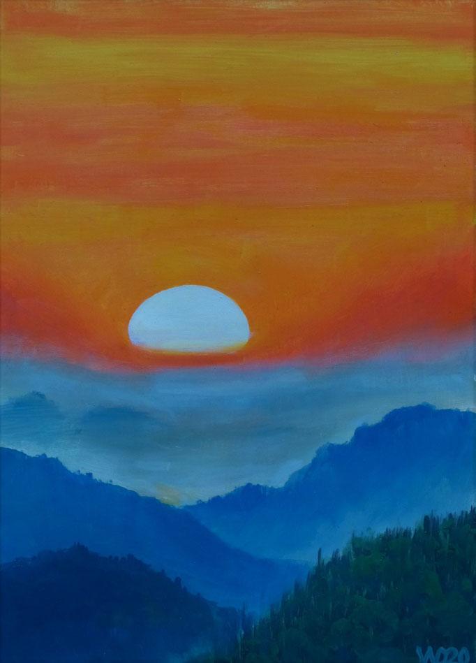Sunset 18 - 24 x 33 cm  Ölfarbe auf Papier   45.00 €