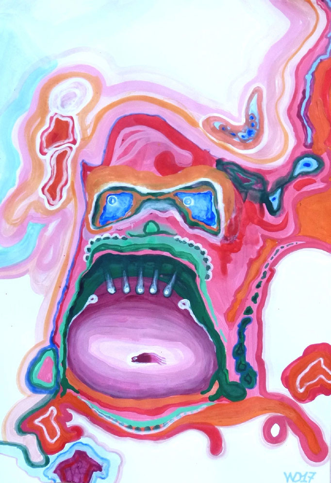 Anglerfisch - 35 x 50 cm  Acrylfarbe auf`s Papier    99.00 €