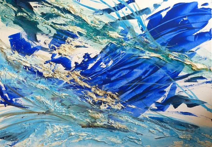 Der Storm -  70 x 100cm  Acrylfarbe, Strukturpaste, Schlussfirnis.   260 €