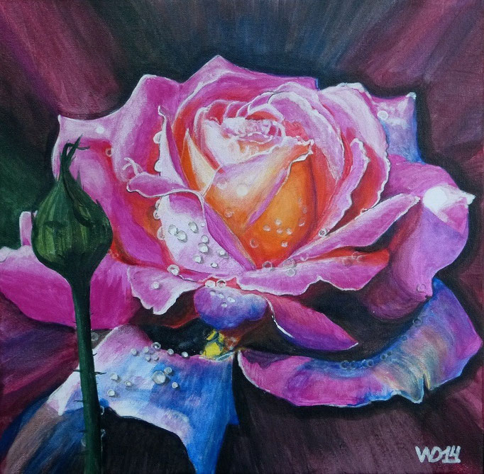 Rose - Maße: 40 x 40cm  Material: Acrylfarbe, Leinwand, Schlussfirnis   150.00€