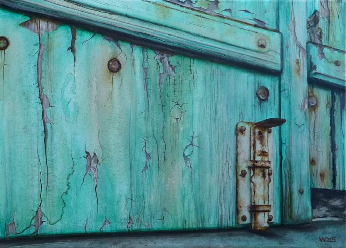Der Riegel - 50 x 70cm  Acrylfarbe, Leinwand, Schlussfirnis  400.00 €