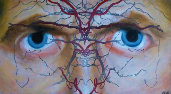 Selbstportrait - 84 x 47 cm  Öl auf 3mm MDF-Platte    180.00 €