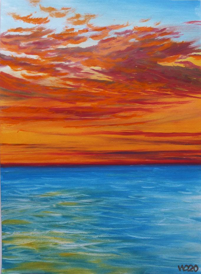 Sunset 68 - 24 x 33 cm  Ölfarbe auf Papier   45.00 €