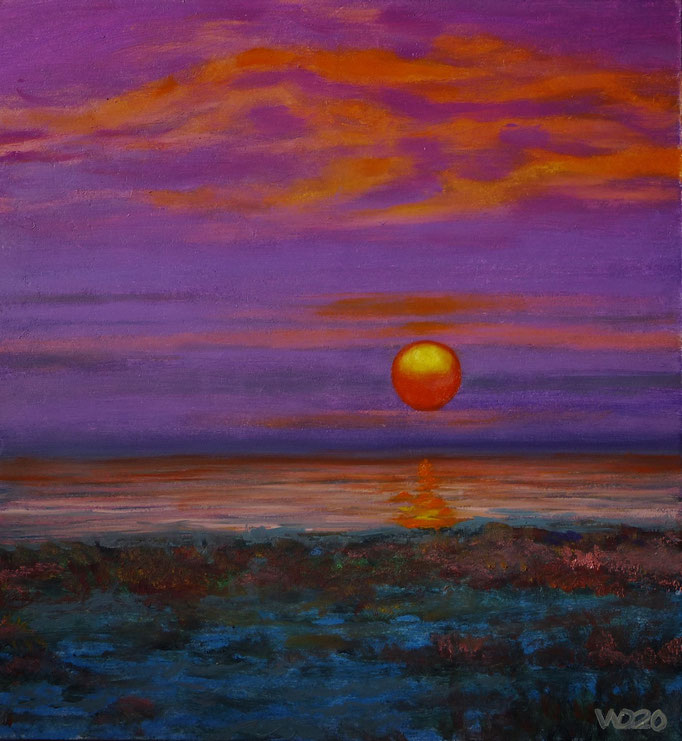 Sunset 2 - 285 x 305 mm  Ölfarbe auf 3mm MDF-Platte   45.00 €