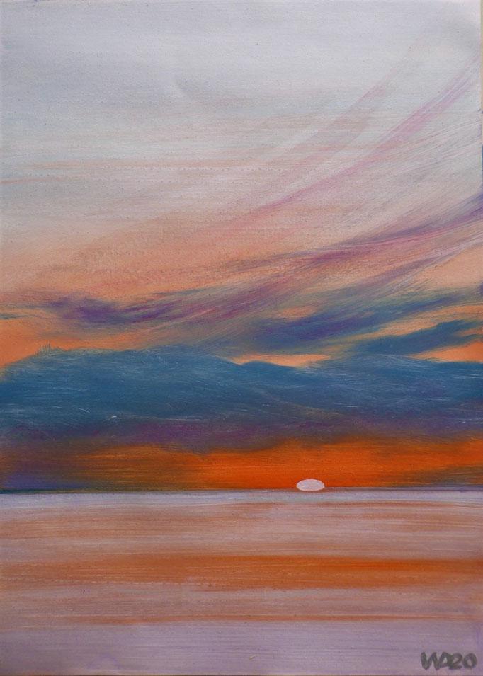 Sunset 52 - 24 x 33 cm  Ölfarbe auf Papier   45.00 €