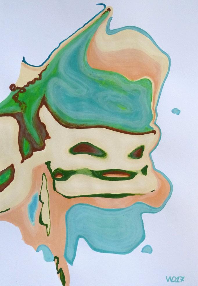 Klonkrieger Gaga - 35 x 50 cm  Acrylfarbe auf`s Papier    99.00 €
