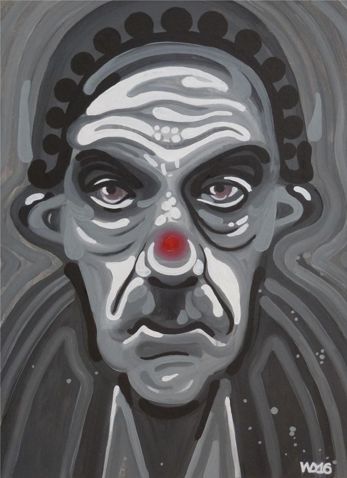 Grauer Clown - 47 x 65 cm  Öllfarbe,  3mm MDF-Platte   170.00 €