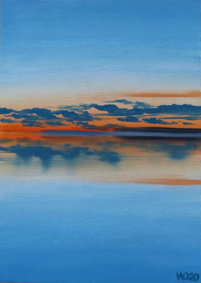 Sunset 47 - 24 x 33 cm  Ölfarbe auf Papier   45.00 €