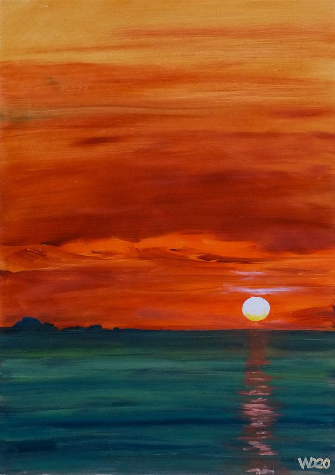 Sunset 24 - 24 x 33 cm  Ölfarbe auf Papier   45.00 €