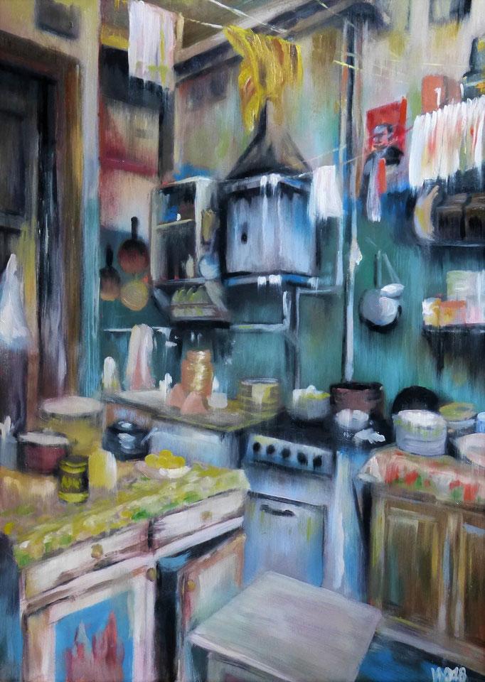 Küche - 50 x 70cm  Ölfarbe, 3mm Sperrholz-Platte  120.00€