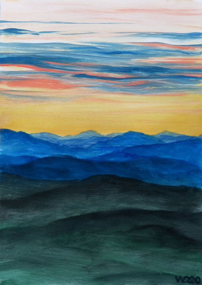 Sunset 66 - 24 x 33 cm  Ölfarbe auf Papier   45.00 €