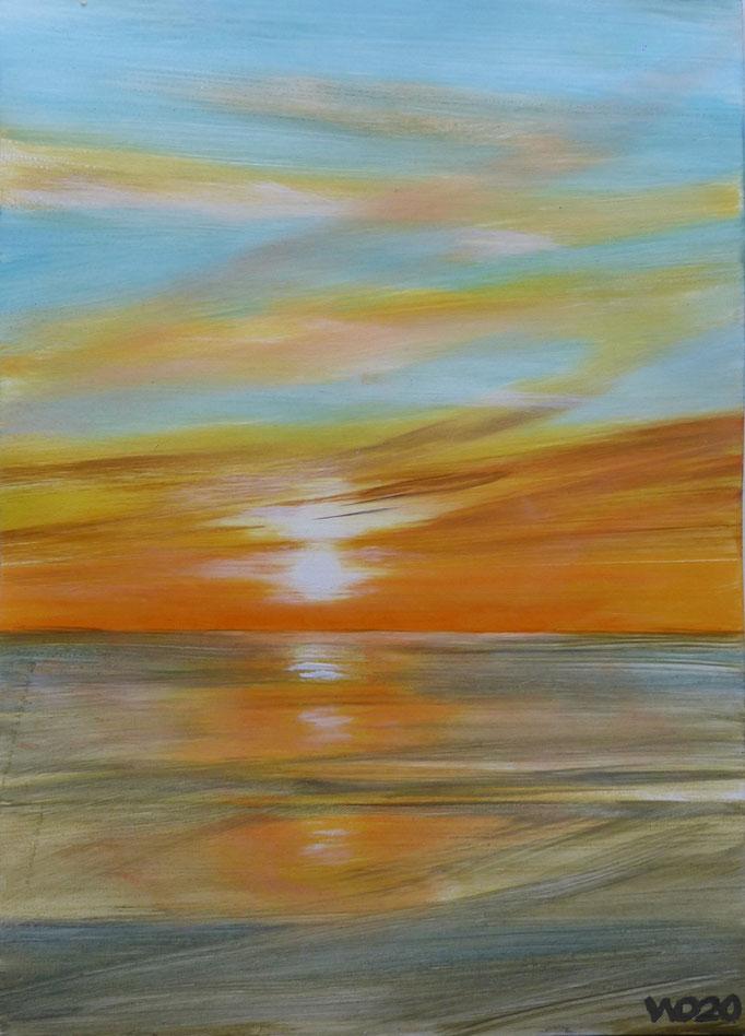 Sunset 64 - 24 x 33 cm  Ölfarbe auf Papier   45.00 €
