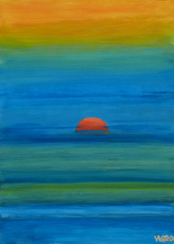 Sunset 22 - 24 x 33 cm  Ölfarbe auf Papier   45.00 €