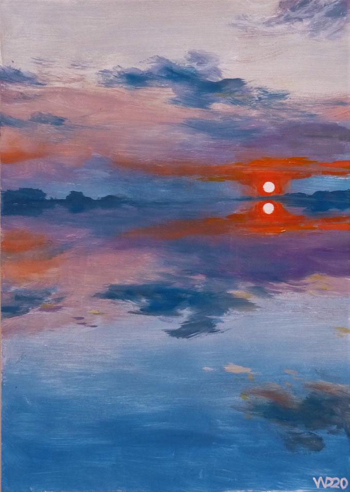 Sunset 23 - 24 x 33 cm  Ölfarbe auf Papier   45.00 €