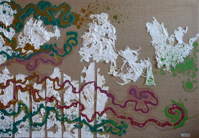 Die sind wieder da  - 70 x 100cm Ungrundierte Leinwand auf Keilrahmen. Acrylfarbe, Strukturpaste, Schlussfirnis.  500.00 €