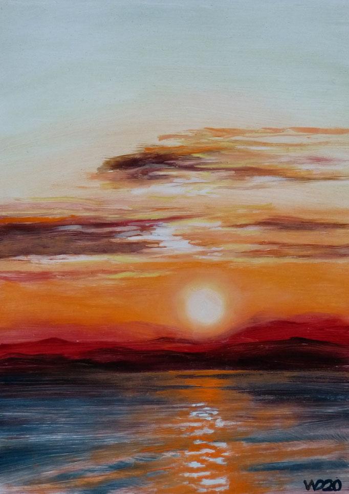 Sunset 72 - 24 x 33 cm  Ölfarbe auf Papier   45.00 €