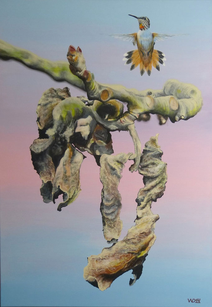 Kolibri -  70 x 100cm  Acrylfarbe, Leinwand, Schlussfirnis  400.00 €